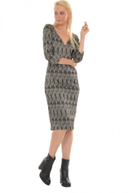 Bellino,  Φόρεμα ζακάρ ελαστικό που αγκαλιάζει το σώμα με μανίκι 3/4 (ΚΑΦΕ, S)