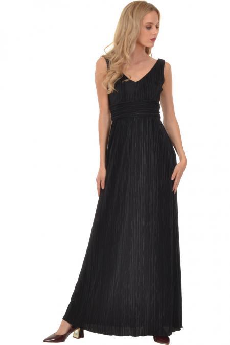 Bellino,  Φόρεμα μακρύ πλισέ με θηλυκό ντεκολτέ και ανοιχτή πλάτη (ΜΑΥΡΟ, L)