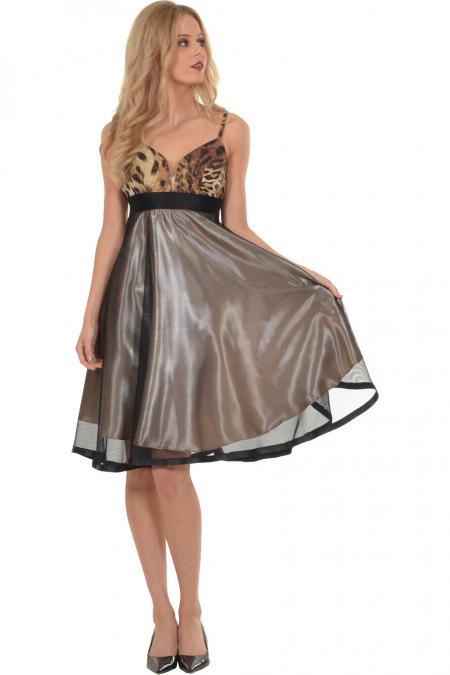 5de38b015318 Φόρεμα midi με εντυπωσιακό μπούστο και τούλινη φούστα