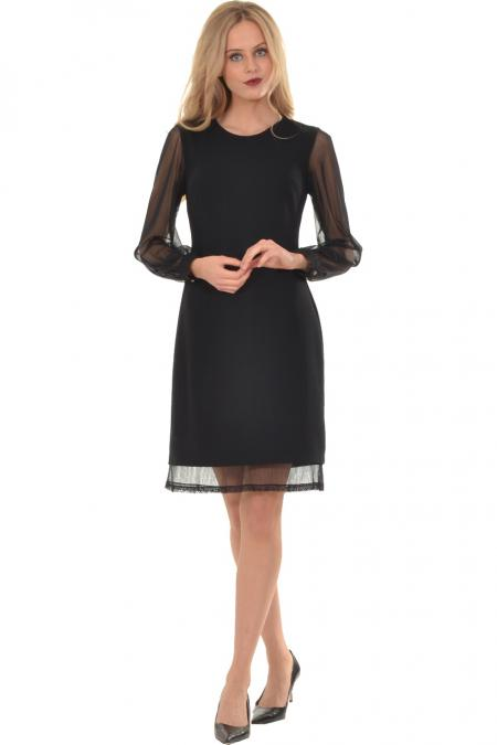 Bellino,  Φόρεμα midi με διαφάνεια μανίκι και δαντέλα στο τελείωμα (ΜΑΥΡΟ, L)