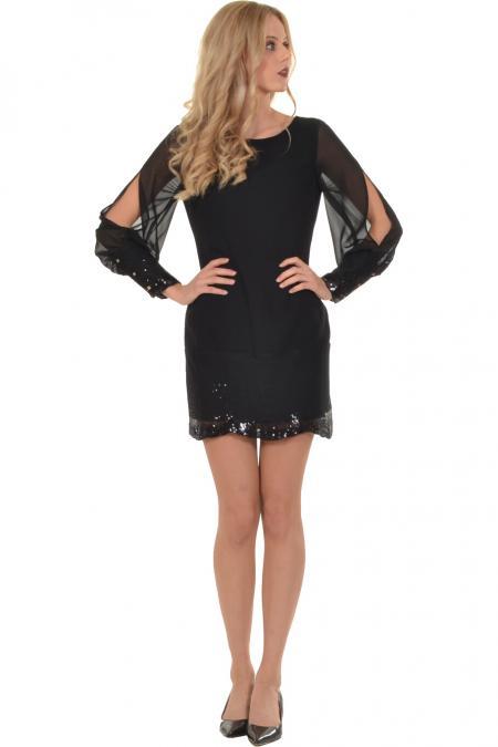 Bellino,  Φόρεμα mini σε ίσια γραμμή με άνοιγμα στο μανίκι (ΜΑΥΡΟ, S)