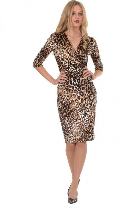 Bellino,  Φόρεμα midi κρουαζέ σε βελούδο λεοπάρ (ΚΑΦΕ, L)