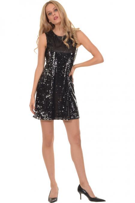 Bellino,  Φόρεμα παγιέτα ριχτό σε άλφα γραμμή (ΜΑΥΡΟ, XL)
