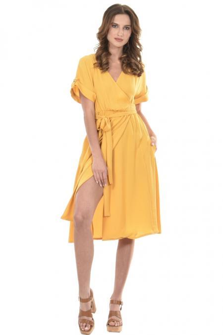 Bellino,  Φόρεμα midi κρουαζέ με δέσιμο στη μέση (ΩΧΡΑ, L)