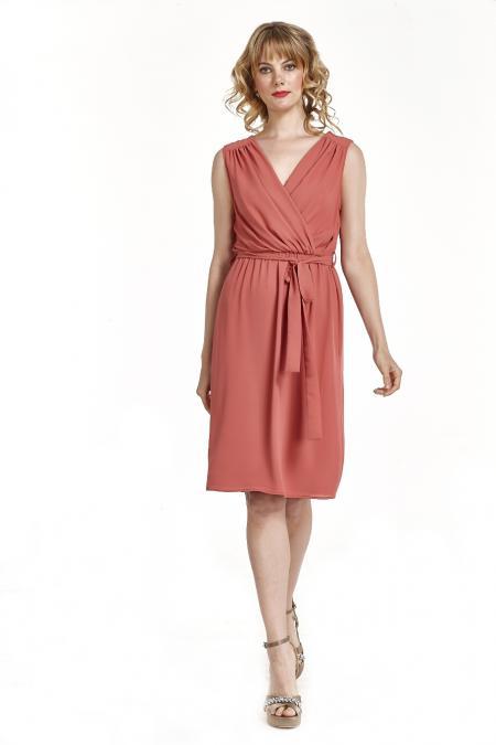Bellino,  Φόρεμα midi κρουαζέ με σούρες στον ώμο (ΚΕΡΑΜΙΔΙ, L)