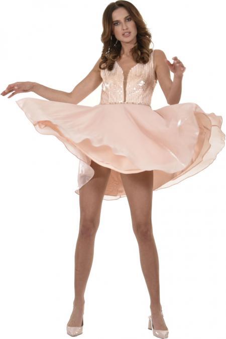 Bellino,  Φόρεμα cocktail με μπούστο κεντημένο από παγιέτα (ΣΑΠΙΟ ΜΗΛΟ, L)