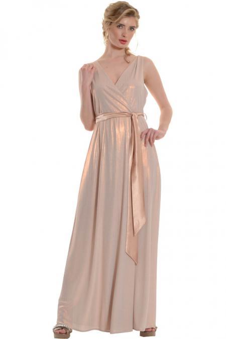 Bellino,  Φόρεμα lurex κρουαζέ με δέσιμο στη μέση (ΜΠΡΟΝΖΕ, XL)