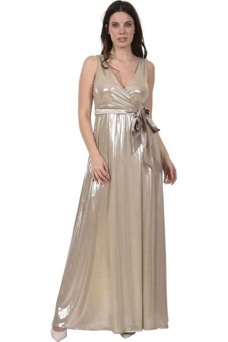 Bellino,  Φόρεμα lurex κρουαζέ με δέσιμο στη μέση (ΧΡΥΣΟ, L)