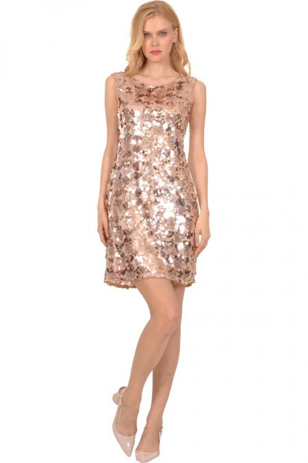 Bellino,  Φόρεμα mini σε παγιέτα (ΜΠΡΟΝΖΕ, L)