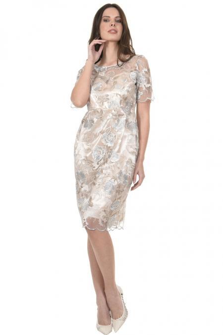 Bellino,  Φόρεμα midi σε τούλι κεντημένο (ΧΡΥΣΟ, L)
