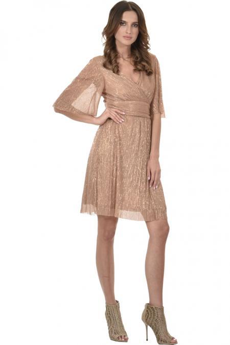 Bellino,  Φόρεμα mini κρουαζέ με ανοιχτή πλάτη (ΜΠΡΟΝΖΕ, M)