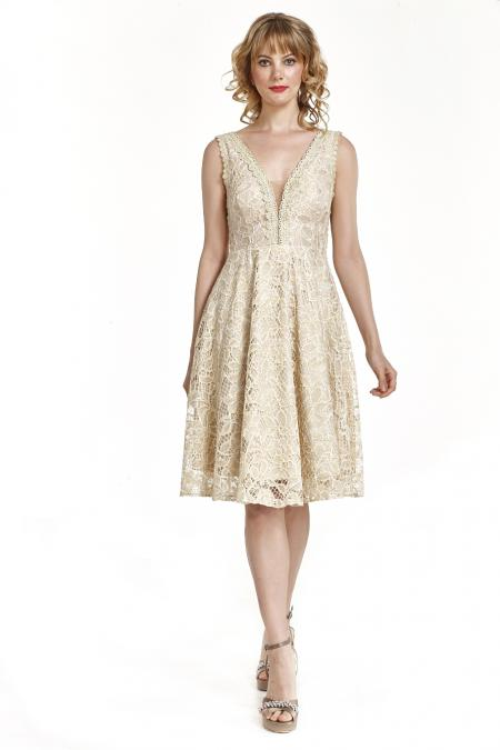 Bellino,  Φόρεμα cocktail midi σε δαντέλα lurex (ΧΡΥΣΟ, L)