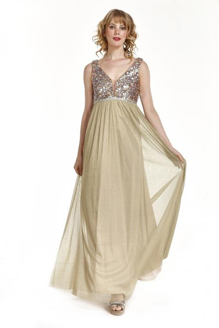 Bellino,  Φόρεμα cocktail σε lurex τούλι με δέσιμο στην πλάτη (ΧΡΥΣΟ, L)