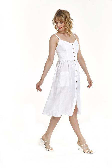 Bellino,  Φόρεμα λινό με θηλυκό ντεκολτέ (ΛΕΥΚΟ, S)