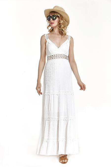 Bellino,  Φόρεμα κρουαζέ με δαντέλες και ανοιχτή πλάτη (ΛΕΥΚΟ, XXL)