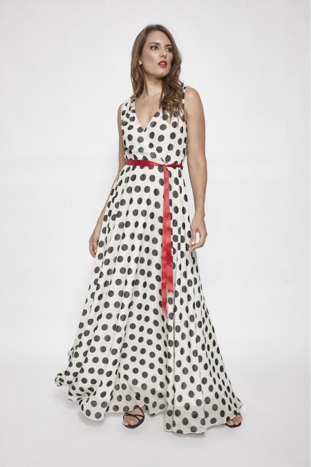Bellino,  Φόρεμα cocktail maxi κρουαζέ με δέσιμο στην πλάτη (ΕΚΡΟΥ, L)