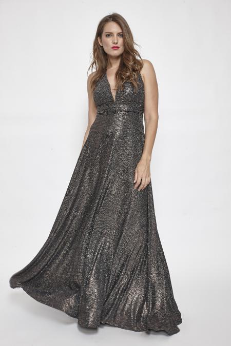 Bellino,  Φόρεμα cocktail maxi με θηλυκό ντεκολτέ (ΜΠΡΟΝΖΕ, L)