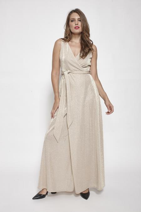 Bellino,  Φόρεμα lurex κρουαζέ με δέσιμο στη μέση (ΧΡΥΣΟ, XL)