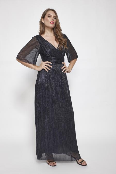 Bellino,  Φόρεμα lurex κρουαζέ με φαρδύ μανίκι (ΜΠΛΕ, L)