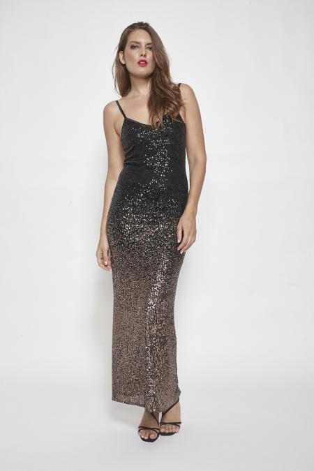 Bellino,  Φόρεμα μακρύ σε ντεγκραντέ παγιέτα που αγκαλιάζει το σώμα (ΜΠΡΟΝΖΕ, L)