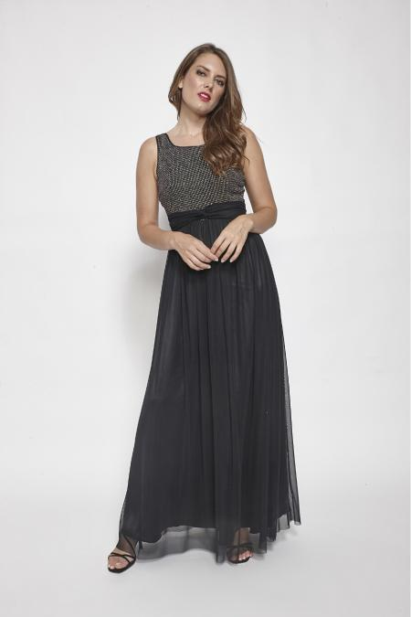 Bellino,  Φόρεμα  maxi με αέρινο τούλι και μπούστο από glitter (ΜΑΥΡΟ, L)