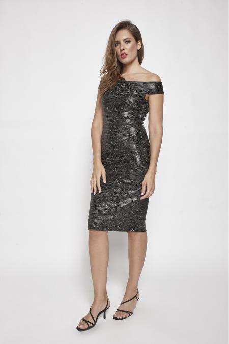 Bellino,  Φόρεμα  jersey lurex midi που αγκαλιάζει το σώμα (ΜΠΡΟΝΖΕ, L)