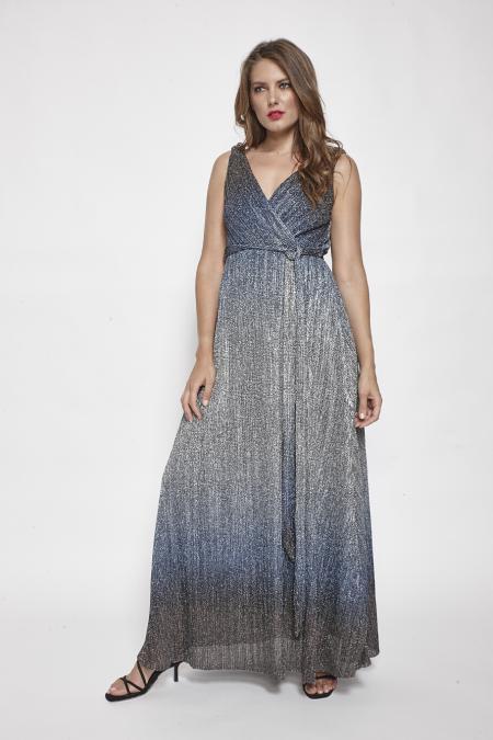 Bellino,  Φόρεμα  lurex ντεγκραντέ κρουαζέ με ζώνη στη μέση (ΑΣΗΜΙ, L)