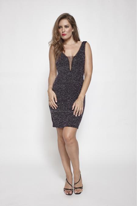 Bellino,  Φόρεμα mini σε lurex με θηλυκό ντεκολτέ (ΜΩΒ, L)