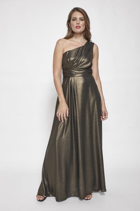 Bellino,  Φόρεμα cocktail lurex με έναν ώμο (ΜΠΡΟΝΖΕ, L)