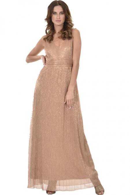 Bellino,  Φόρεμα maxi  lurex με θηλυκό ντεκολτέ. (ΜΠΕΖ, L)