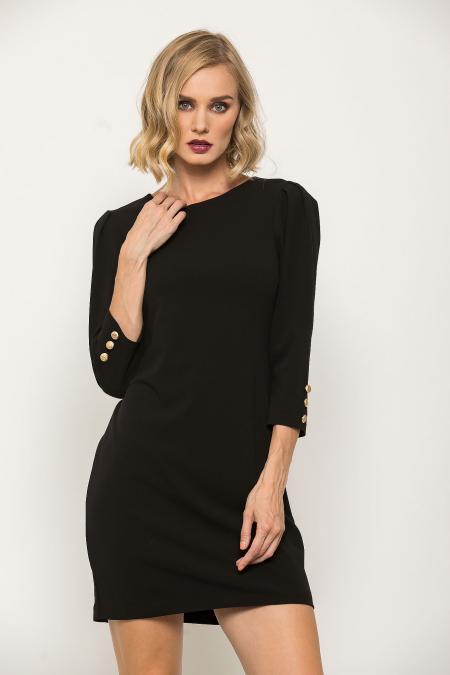 Bellino,  Φόρεμα mini σε κρεπ ελαστικό με κουμπιά στο μανίκι (ΜΑΥΡΟ, L)
