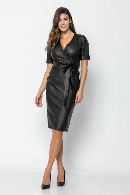 Bellino,  Φόρεμα κρουαζέ midi pencil σε δερματίνι (ΜΑΥΡΟ, L)