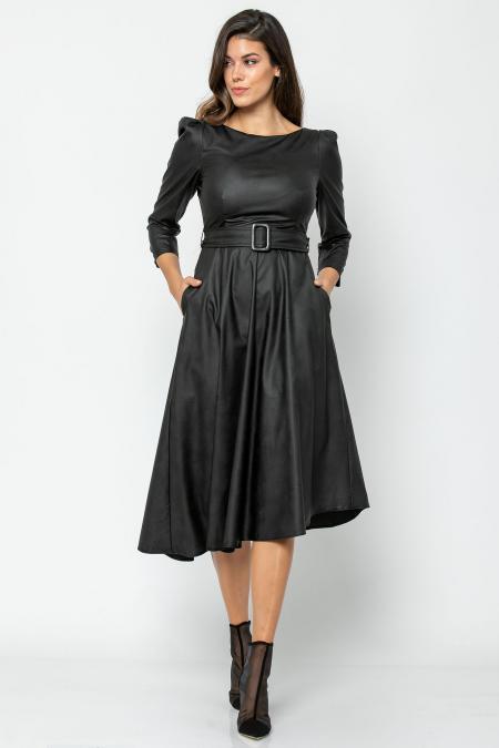 Bellino,  Φόρεμα midi ασύμμετρο σε δερματίνη με τσέπες (ΜΑΥΡΟ, L)