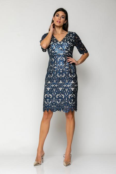 Bellino,  Φόρεμα midi κρουαζέ σε παγιέτα (ΜΠΛΕ, S)