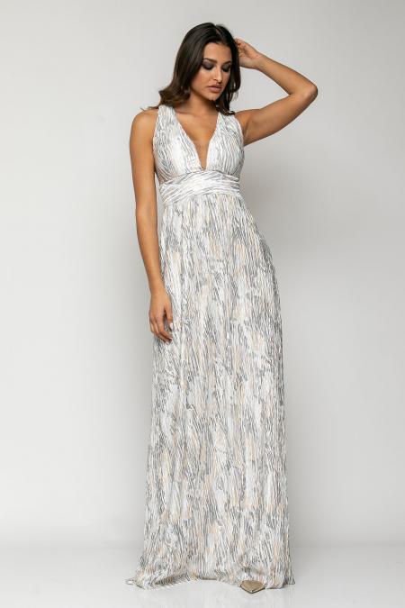 Bellino,  Φόρεμα cocktail maxi σατέν με θηλυκό ντεκολτέ και χιαστή πλάτη (ΛΕΥΚΟ, M)