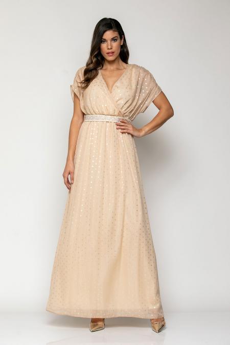 Bellino,  Φόρεμα κρουαζέ με λάστιχο στη μέση (ΧΡΥΣΟ, L)
