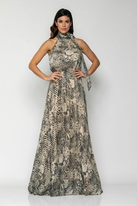 Bellino,  Φόρεμα maxi με παρτούς ώμους, δέσιμο στο λαιμό και άνοιγμα στην πλάτη (ΜΑΥΡΟ, M)