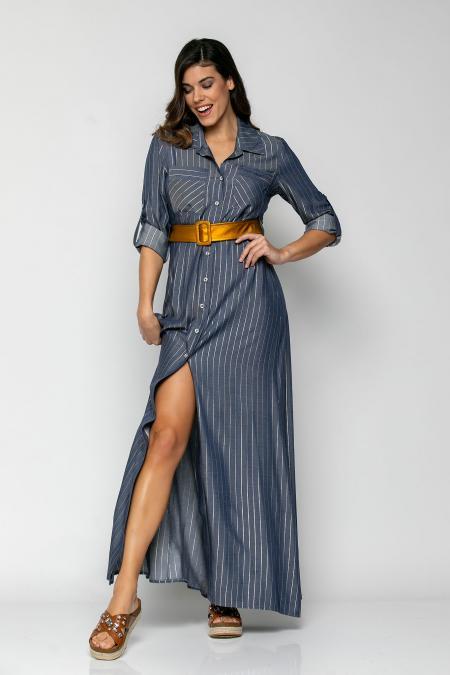 Bellino,  Φόρεμα σεμιζέ με extra ζώνη δερμάτινη και μανίκια μακριά (ΙΝΤΙΓΚΟ, S)