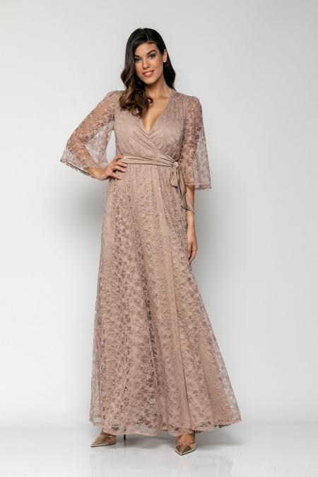 Bellino,  Φόρεμα κρουαζέ σε δαντέλα με δέσιμο στη μέση και καμπάνα μανίκι (ΧΡΥΣΟ, L)