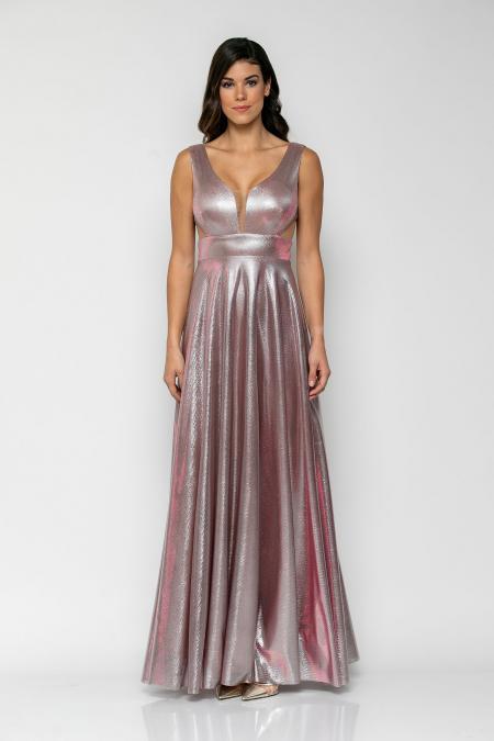 Bellino,  Φόρεμα μεταλλιζέ με cups στο στήθος και πλάτη V με τούλι (ΡΟΖ, L)