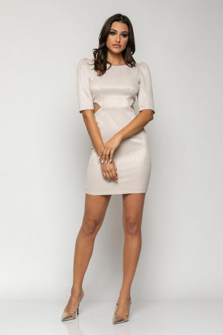 Bellino,  Φόρεμα με μανίκι τρουακάρ και ανοίγματα στο πλάι με τούλι (ΧΡΥΣΟ, S)