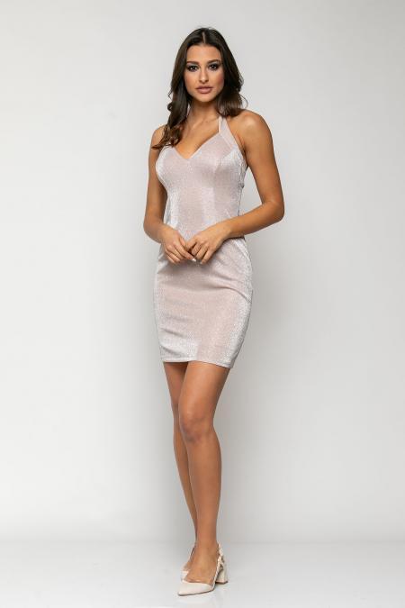 Bellino,  Φόρεμα ελαστικό glitter mini με ανοιχτή πλάτη (ΡΟΖ, L)