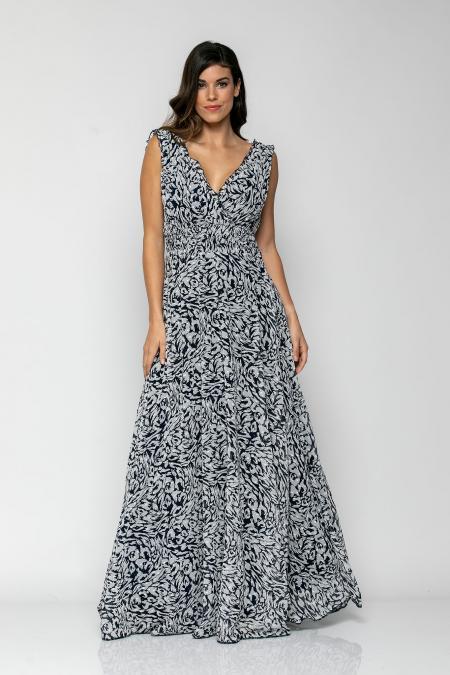 Bellino,  Φόρεμα κρουαζέ με βολάν λεπτομέρειες και σφηκοφωλιά στη μέση (ΜΠΛΕ, S)