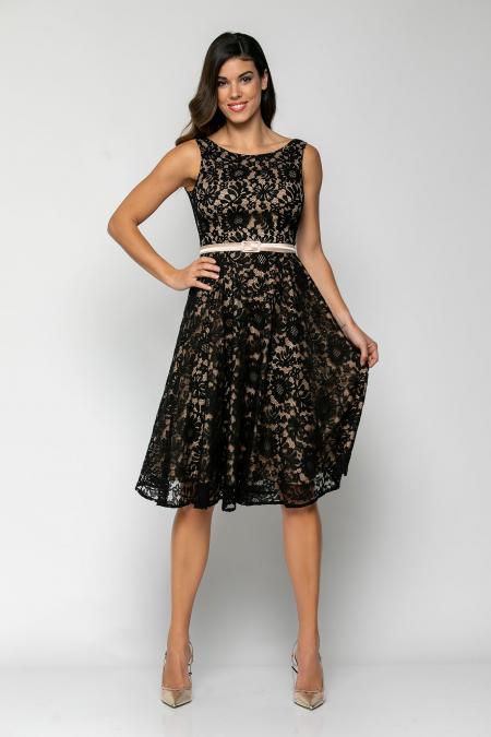 Bellino,  Φόρεμα cocktail midi σε δαντέλα με ανοιχτή πλάτη και extra ζώνη (ΜΑΥΡΟ, M)