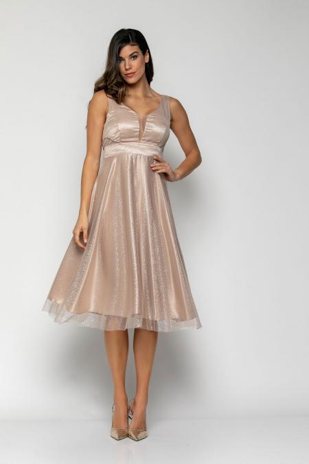 Bellino,  Φόρεμα cocktail midi σε τούλι πουά lurex με θηλυκό ντεκολτέ (ΜΠΕΖ, S)