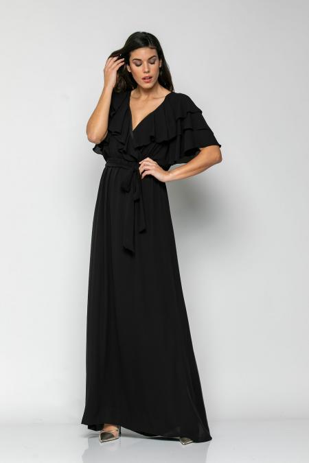 Bellino,  Φόρεμα μακρύ με βολάν με ζώνη και ελαστικότητα στη μέση (ΜΑΥΡΟ, L)