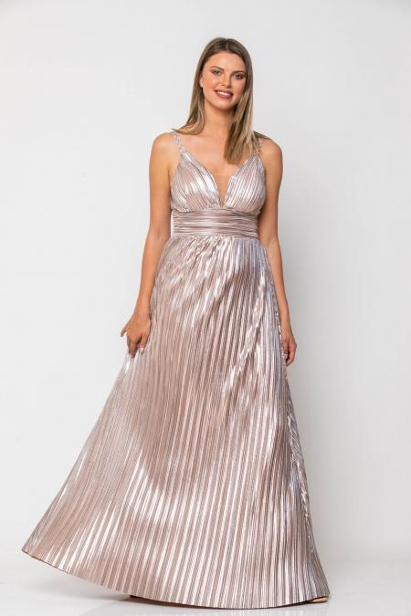 Bellino,  Φόρεμα maxi πλισέ με θηλυκό ντεκολτέ (ΣΑΠΙΟ ΜΗΛΟ, L)