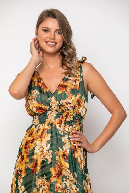 Bellino,  Φόρεμα εμπριμέ σε άνετη γραμμή με δεσίματα στις τιράντες (ΠΡΑΣΙΝΟ, L)