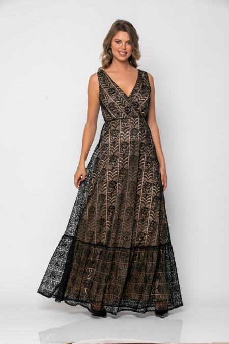 Bellino,  Φόρεμα με θηλυκό ντεκολτέ και ανοιχτή πλάτη (ΜΑΥΡΟ, L)