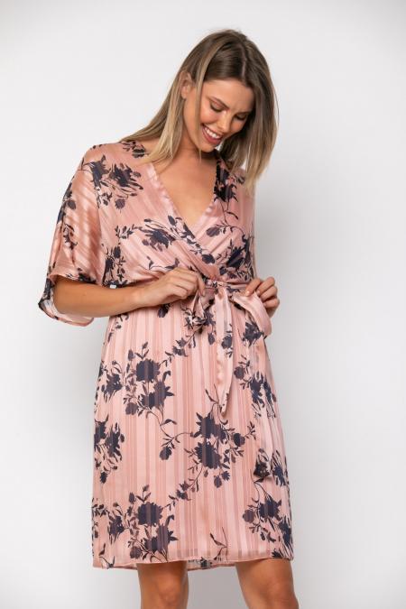 Bellino,  Φόρεμα κοντό κρουαζέ σε φαρδιά γραμμή με ζώνη (ΣΟΜΟΝ, L)